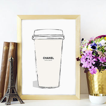 CHANEL Espresso Coffee Cup Chanel Watercolor Painting Fashion Illustration Wall Home Decor Fashionista Fashion print Coco Chanel Sign