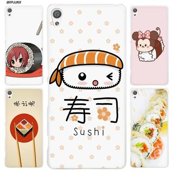 BiNFUL kawaii sushi Clear Cover Case for Sony Xperia XA XA1 X XZ Z5 Z1 Z2 Z3 M4 Aqua M5 E4 E5 C4 C5 Compact Premium