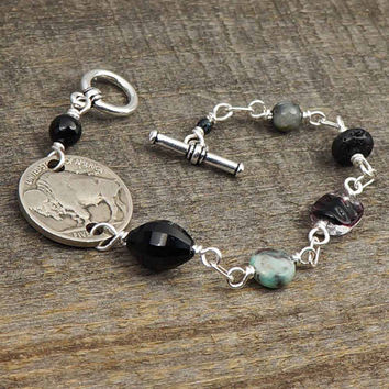 Buffalo nickel bracelet, US coin black grey beads, wirewrapped silver, 7 inches