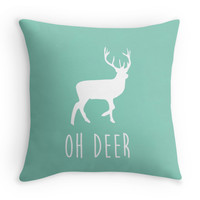 Aqua Oh Deer Pillow Cover