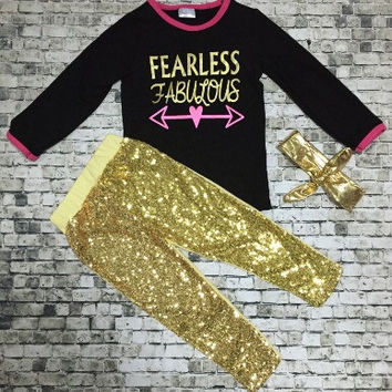 In stock-Fearless and fabulous Sequin pant set