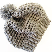 Gray Slouchy Hat - Grey Slouchy Hat - Slouchy Beanie - Crochet Beanie Hat - Slouchy Beanie With Pom