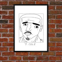 Badly Drawn J. Cole - Hip Hop Poster