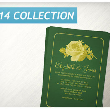 Yellow & Green Rustic Floral/Flower Wedding Invitations | Invites | Invitation Cards
