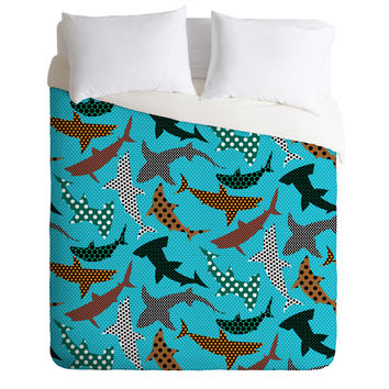 Raven Jumpo Polka Dot Sharks Duvet Cover