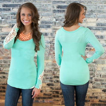 Lace Spliced Long Sleeve Blouse in Green Pink or Dark Blue