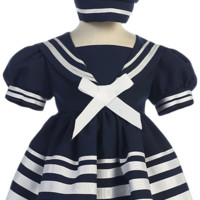Navy Blue Nautical Sailor Dress with White Trim & Beret Style Hat (Baby & Toddler Girls)