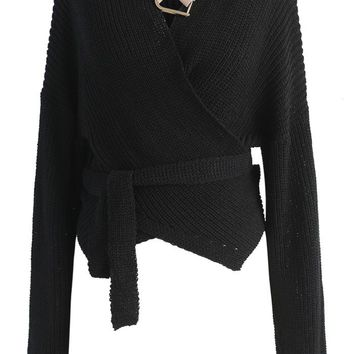Knit Your Zeal Wrapped Top in Black