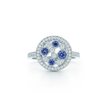 Tiffany & Co. - Tiffany Cobblestone ring in platinum with Montana sapphires and diamonds.