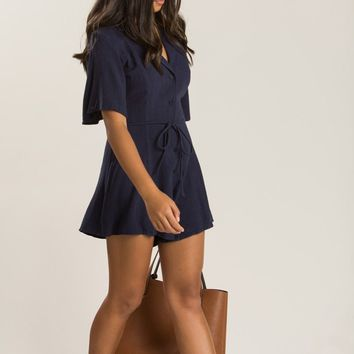 Bristol Navy Button Down Romper
