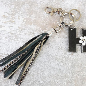 Black leather tassel keychain, leather initial keychain, personalized key fob, monogram key holder