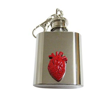 Red Anatomical Heart 1 Oz. Stainless Steel Key Chain Flask