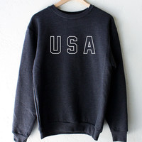 USA Oversized Sweater - Dark Heather Grey