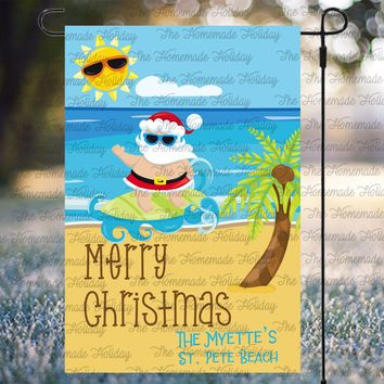 Personalized Christmas Beach Santa Flags