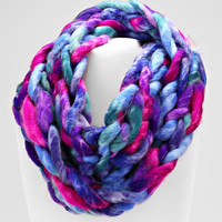 Ombre Knitted Hand Woven Infinity Scarf Purple Mix
