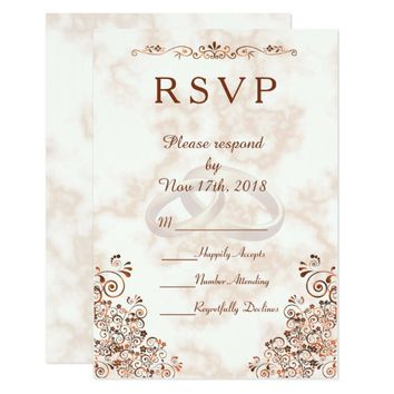 Marble Rose Gold Rings Elegant Wedding RSVP Card