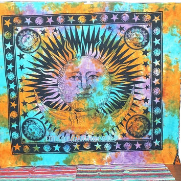 Good Morning Sun tapestry,Indian Tapestry ,Sun-Moon Wall hanging ,Sun Bedspread Ethnic home decor Bohemian Bedding throw
