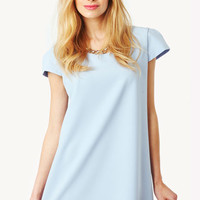 Marchelle LOVE Short Sleeve Shift Dress in Blue at Fashion Union