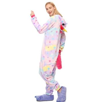 2018 Women Pajamas Sets unicornio Stitch Panda Unisex Cartoon Sleepwear Cosplay Animal Hooded Homewear Man Winter Pajama