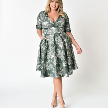 Unique Vintage Plus Size 1950s Sage Green Floral Delores Swing Dress with Sleeves