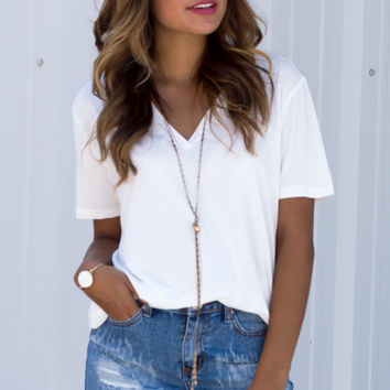 Basic White V-Neck Tee