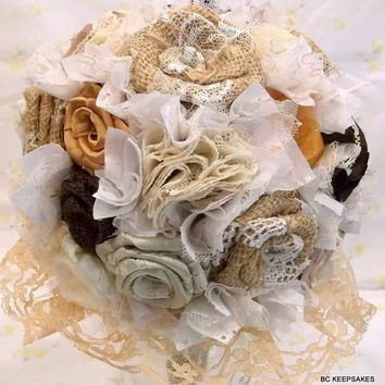 Custom Shabby Chic  Burlap Lace Chocolate Shimming Gold Wedding Bouquet