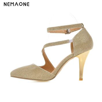 NEMAONE Women Pumps Spring 2017 Thin Heel Pumps Gold/Silver Sexy High Heels Peep Toe Gladiator Party Shoes Zapatos