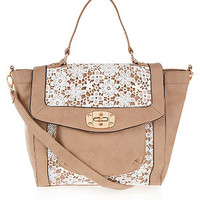 Tan and Cream Crochet Winged Satchel