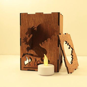 Dragon tealight lantern Wood candle holder Shadow box Led flameless candle Laser cut candleholder Led light Night light Wood light Fantasy