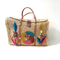 70s Mexican Wicker Bag. Large Beach Tote. Farmer's Market Bag.
