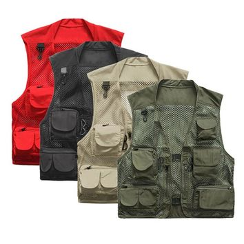 Outdoor Men Fishing Vest Multi Pockets Fishing Waterproof Waistcoat Quick Dry Travel Photography Camping Hiking Hunting Jackets