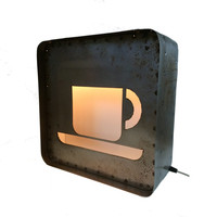 """Light Up Steel COFFEE CUP Sign, light up sign, industrial sign, light box,15"""", coffee"""