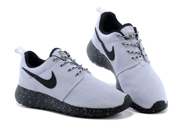 nike roshe run womens shoes oreos all black&white shoes