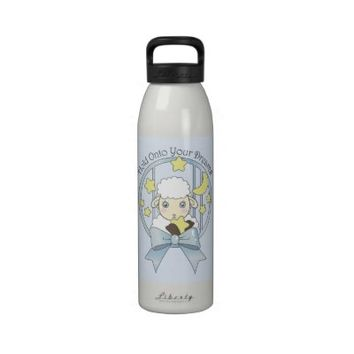 Cute Animal Kids Custom Drinking Bottles: Girl Birthday or Baby Shower Gift Idea: Kawaii Lamb, Moon, and Stars
