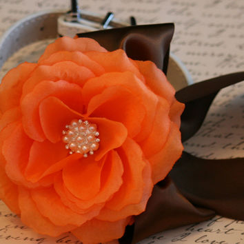 Orange and Brown Floral Dog Collar, Pet wedding accessories, Fall wedding