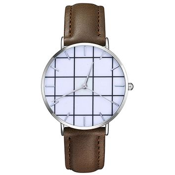 Fashion  Men Women Slim Leather Analog Classic Casual  Wrist Watch