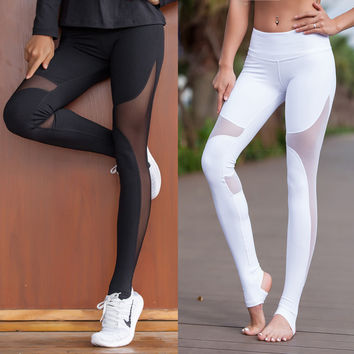 Fitness yoga net yarn splicing trample feet women cultivate one's morality show thin air movement render pants