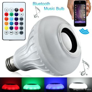 New Wireless Bluetooth Speaker Light Bulb Smart LED RGB Color Changing + Remote