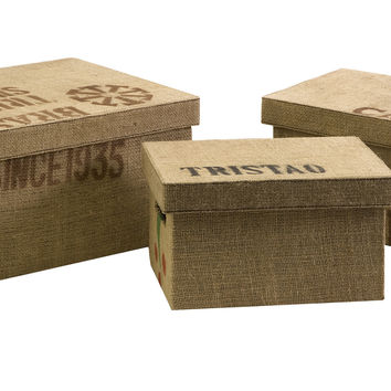 Tavin Jute Fabric Boxes - Set of 3