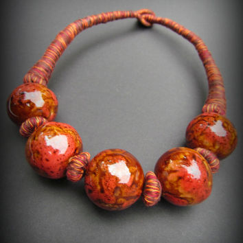 BOHEMIAN NECKLACE~Ceramic Beads~Thread Woven~Handmade Chunky Boho Indie Chic Necklace~