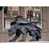 Design Toscano Warwickshire Dragon Glass-Topped Halloween Coffee Table