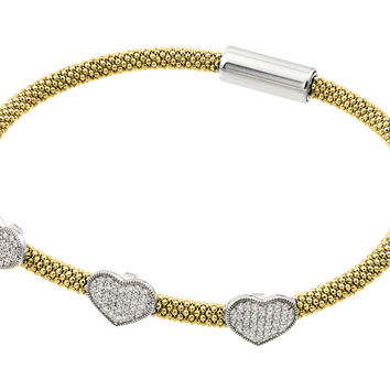 .925 Sterling Silver Rhodium &  Gold Plated Heart Micro Pave Clear Cubic Zirconia Beaded Italian Bracelet: SOD