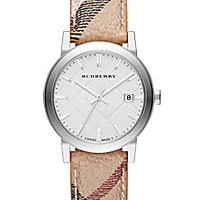 Burberry - City Stainless Steel & Haymarket Strap Watch/38MM - Saks Fifth Avenue Mobile