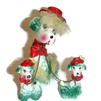Vintage Kitsch Poodle Family 50s Japan Collectible Porcelain Dog Figurines Ceramic Statue Pottery Home Decor Teal Green with Red Hats & Bows