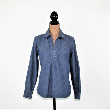 Blue Chambray Top Long Sleeve Shirt Women Babydoll Tunic Casual Blouse Small Medium Coldwater Creek Vintage Clothing Womens Clothing