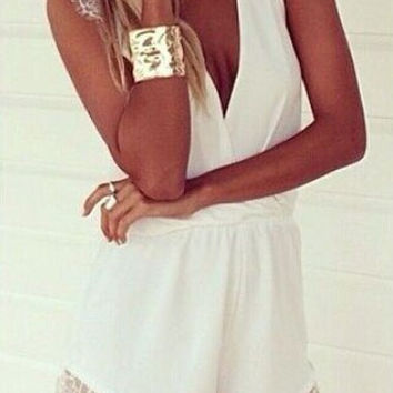 White Sleeveless Lace Panel Romper