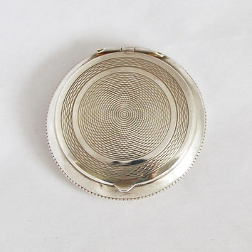 Antique French Sterling Silver Guiloche Pill Box Powder Compact