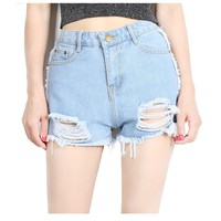 2018 New Fashion Women Jeans Summer Hole Washed High Waist Stretch Denim Shorts Slim American Apparel Casual Girl Shorts Jeans