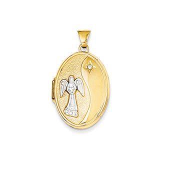26mm Reversible Diamond Guardian Angel Oval Locket in 14k Yellow Gold