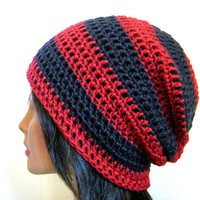 Slouch Beanie Red Black Striped Hipster Mens Womens Oversize Crochet Slouchy Hat